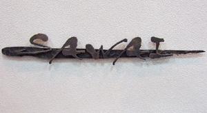 【大放出セール】 ロートアイアン ※※:ファミリー庭園ネットショップ リフォーム 表札 サイン 【送料無料】 和錆表札 筆(フデ)N-73/ブロンズ古美仕上 ※※ 新築 アンティーク調-エクステリア・ガーデンファニチャー