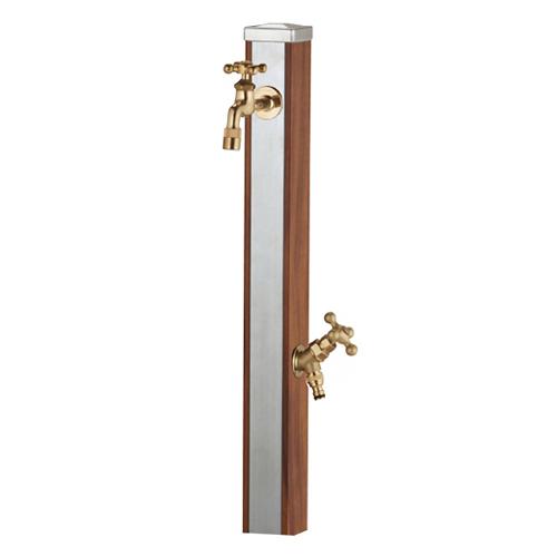 【送料無料】 立水栓 スプレスタンド ウッドブラウン (蛇口2個セット) ※※ ユニソン 人気 木目調 立水栓 ステンレス 水栓 角柱 蛇口 ※※