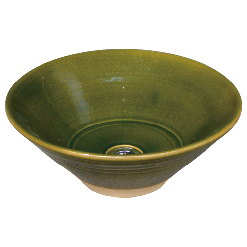 【送料無料】 陶器の水鉢 織部 KZ3-701 ※※ オンリーワン 屋外 和風 陶器 焼き物 水受け パン ※※