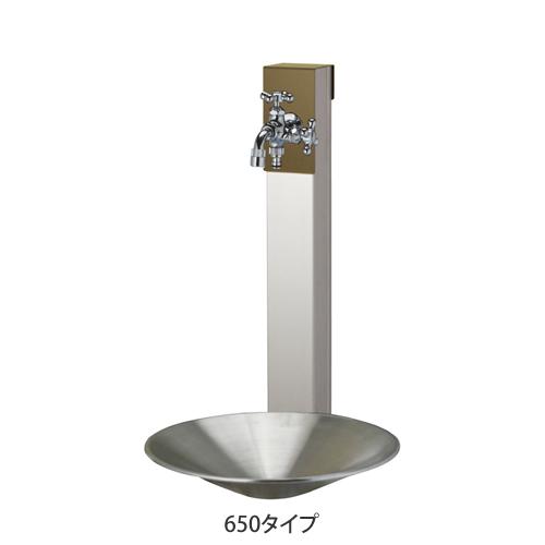【送料無料】 立水栓セット リーナアロン650 オリーブドラブ (ポット+ツイン蛇口付属) ※※ ユニソン 立水栓 水栓 角柱 水鉢 水受け 蛇口 ※※