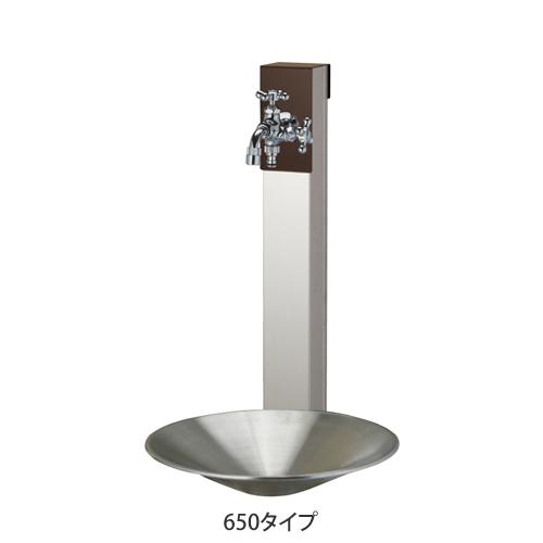 【送料無料】 立水栓セット リーナアロン650 チョコブラウン (ポット+ツイン蛇口付属) ※※ ユニソン 立水栓 水栓 角柱 水鉢 水受け 蛇口 ※※