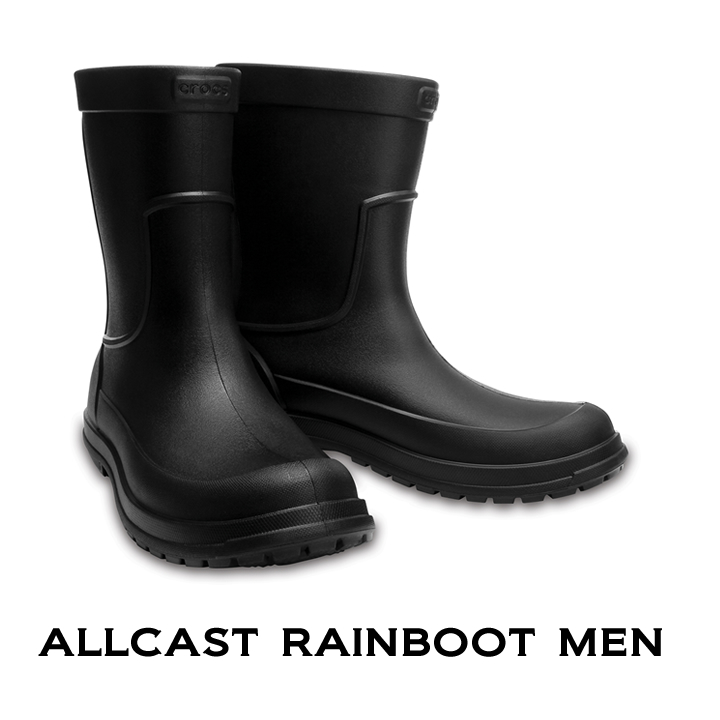正規品 送料無料 クロックス レインブーツ 長靴 crocs メンズ b オールキャスト 高級な メン ブラックxブラック お買得 Boot Rain Allcast Men