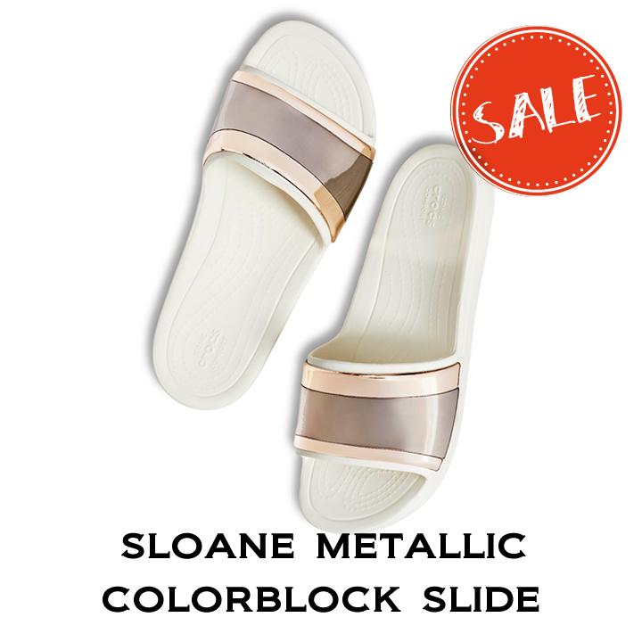 20%OFF【クロックス crocs レディース】sloane metallic colorblock slide/スローン メタリック カラーブロック スライド ウィメン