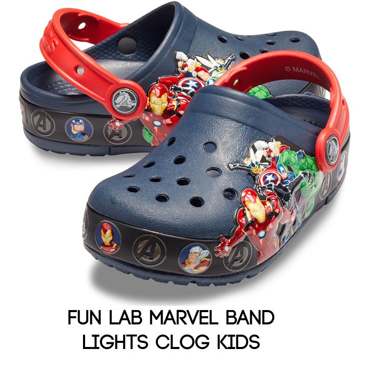 fun lab marvel band lights clog kids
