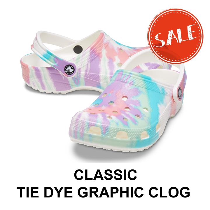 50%OFF 2021年 クロックス メンズ レディース 割引も実施中 セール crocs トラスト classic クロッグ dye タイダイグラフィック フレスコxマルチ graphic クラシック clog tie