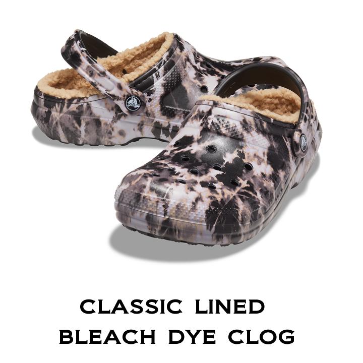 正規品 クロックス サンダル メンズ レディース ボア ラインド ライニング crocs 開店祝い クラシック Dye クロッグ Clog Bleach Lined 国内在庫 ブリーチダイ Classic