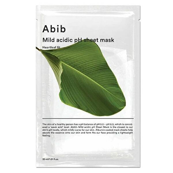 pH値の透明パックで刺激せずにケア 買収 アビブ 弱酸性 pH シートマスク ハートリーフ メール便可 1枚 韓国コスメ パック abib お歳暮