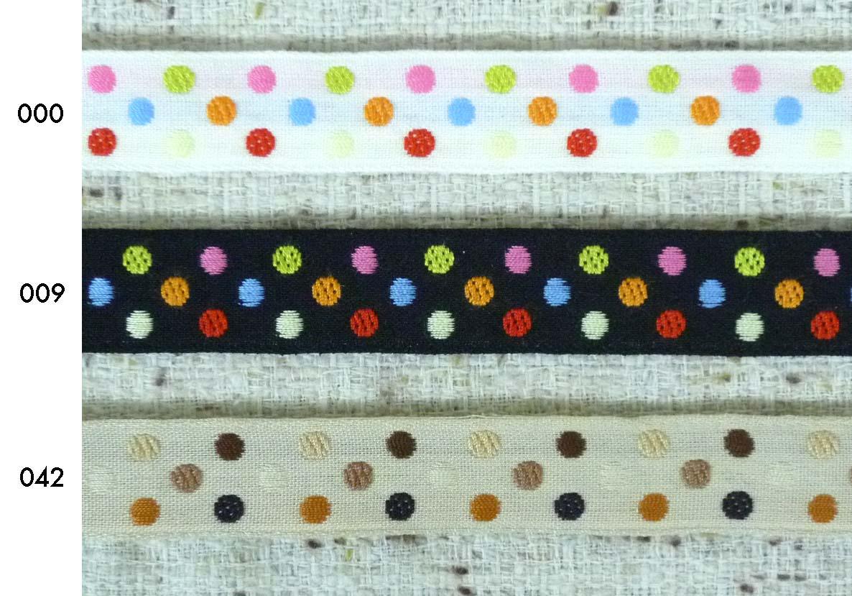 マルチドットリボン チロルテープ タイプB(幅 :約17mm)《1反購入50%オフ》6色のマルチな配色で、無地の単色生地に映えるキュートなアクセントをお楽しみください。