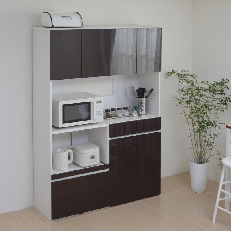 【在庫処分】鏡面 レンジ台 120cm幅 キッチン収納 レンジボード 食器棚