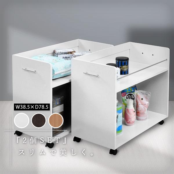 押入れにぴったり入る、キャスター付きラック2個組。押入れ内のスペースを有効活用できます。幅広なので大きな日用品のストックにも最適!  押入れ収納 ラック 2個セット 幅38 奥行78 高さ65.5 キャスター付き ワゴン コミックラック 整理 隙間 家具 押入れ 収納 リビング 大容量 棚 スライド 収納庫 日用品 収納ケース 押入れ収納棚 押し入れ収納