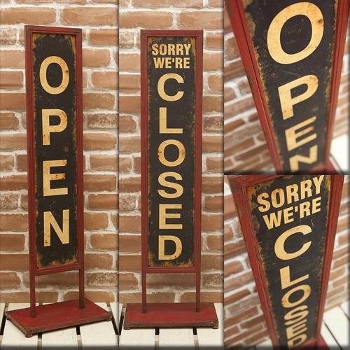 両面タイプ 看板 オープン クローズ OPEN&CLOSED アイアン スタンドプレート お店 レトロ 玄関 アンティーク 送料無料