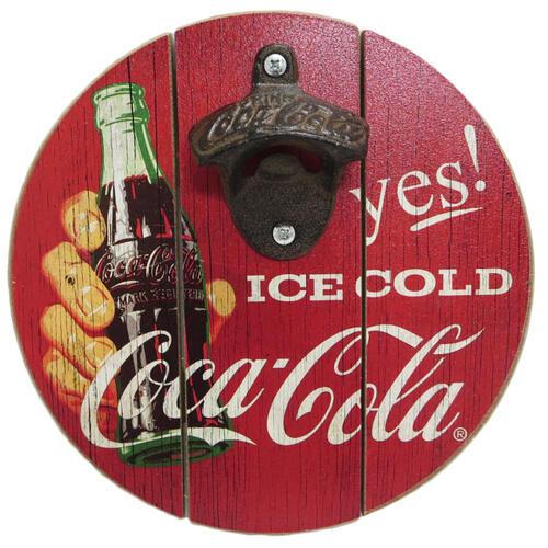 """コカコーラ 8""""ラウンド ボトルキャップ オープナー 壁掛け 栓抜き アメリカン カフェ コーラ インテリア アンティーク 送料無料"""