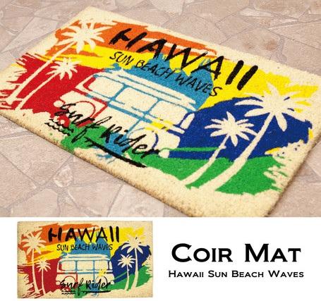 玄関マット レクト コイヤーマット CR-10187 Hawaii Sun Beach Waves 送料無料 お見舞い マット 玄関 テラス ハワイアン 正規取扱店 グッズ インテリア アロハ