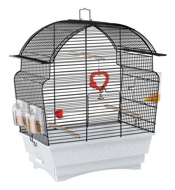 イタリアferplast社製 鳥かご ロザ ブラック Rosa Black 鳥籠 ゲージ フルセット カナリア セキセイインコ 小型鳥用