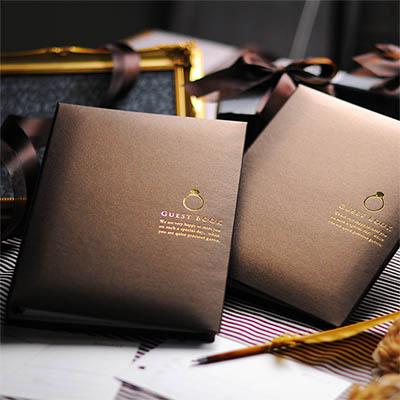 芳名帳【2冊セット】ショコラ・リング 選べる3タイプ(カード・チェキカード・シート) 結婚式 ゲストブック