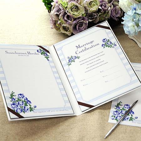 結婚証明書 「イングリッシュローズ ブルー」 ゲスト参加型(人前式) 結婚式