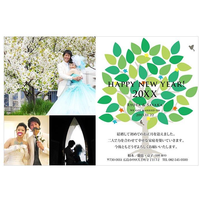【結婚報告はがき兼年賀状】NP-69(ツリー)(50部)お年玉付年賀ハガキ代含