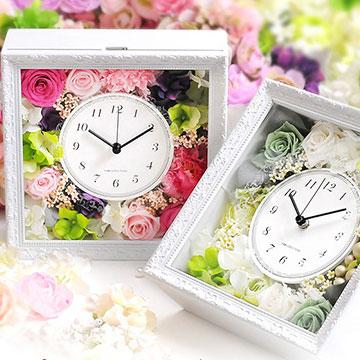【ガラス彫刻/時計】花時計 アンティーククロック「エーデル」/プリザーブドフラワークロック・結婚式・演出アイテム