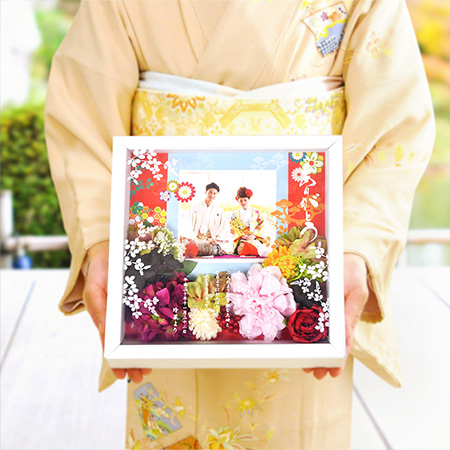 和装写真にピッタリ感謝ボード(スクエア)「茜」/結婚式 両親へのプレゼント