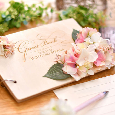 Guest Book Wood Flower Of Natural Pet Name Forest Wedding Wooden