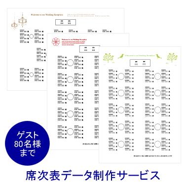 【手作り応援!席次表セミオーダー】席次表データ制作サービス(ゲスト80名様まで)