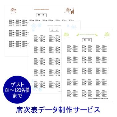 【手作り応援!席次表セミオーダー】席次表データ制作サービス(ゲスト81~120名様まで)