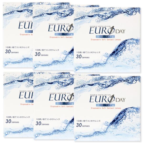 送料無料 EURO ユーロワンデー 6箱セット[1箱30枚] 1日 DIA14.0 BC8.7 -0.50~-10.00 ( 近視用 ) 終日装用 1日使い捨て コンタクトレンズ Contact Lens