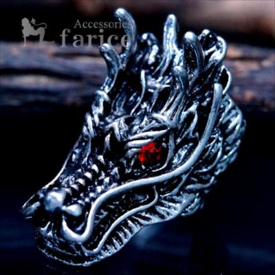 ドラゴン 龍 3D 立体型 レッドビーズ アイ シルバー ブラック バイカラー メンズ リング
