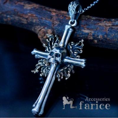 スカル 髑髏 ボーンクロス 骨の十字架デザイン メンズ シルバー925 ペンダント ネックレス
