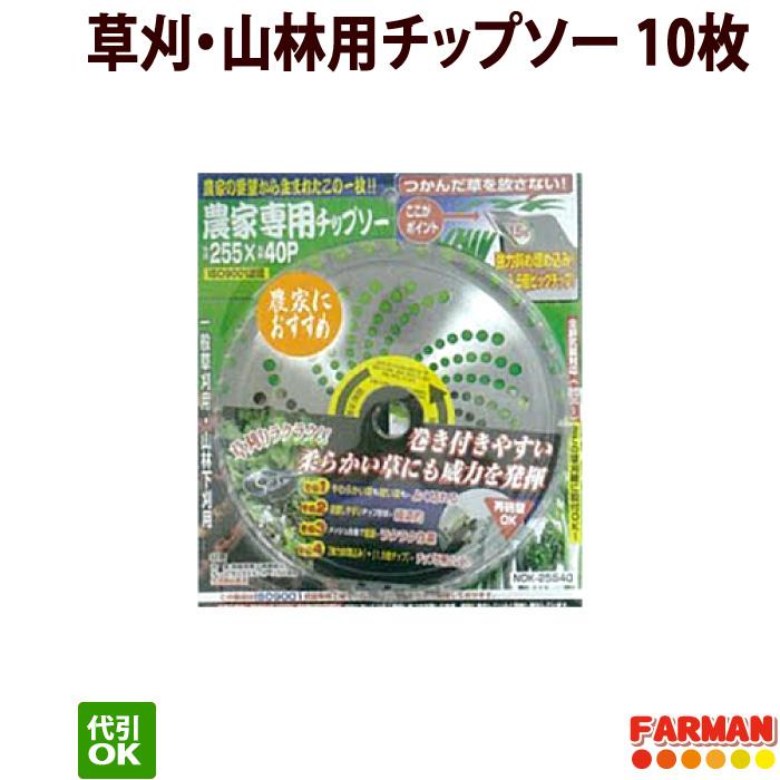 高芝ギムネ 農家専用チップソー 230×36P/255×40P 草刈・山林用チップソー 10枚セット