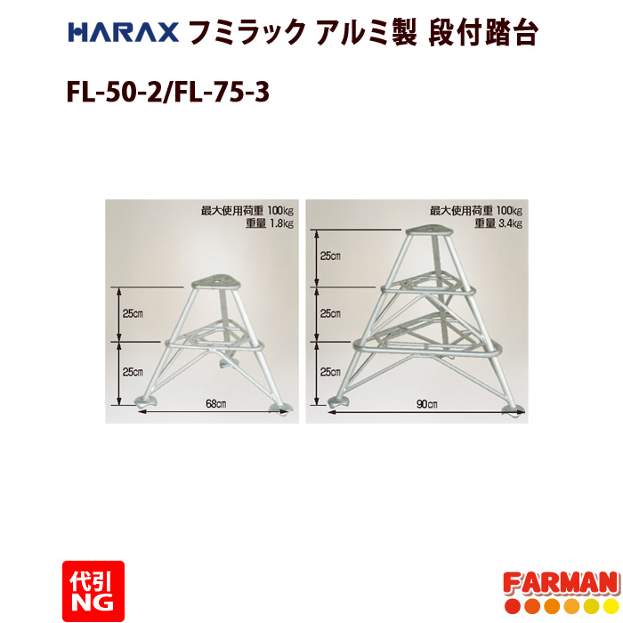HARAX◇フミラック アルミ製 段付踏台 FL-75-3【代引NG】