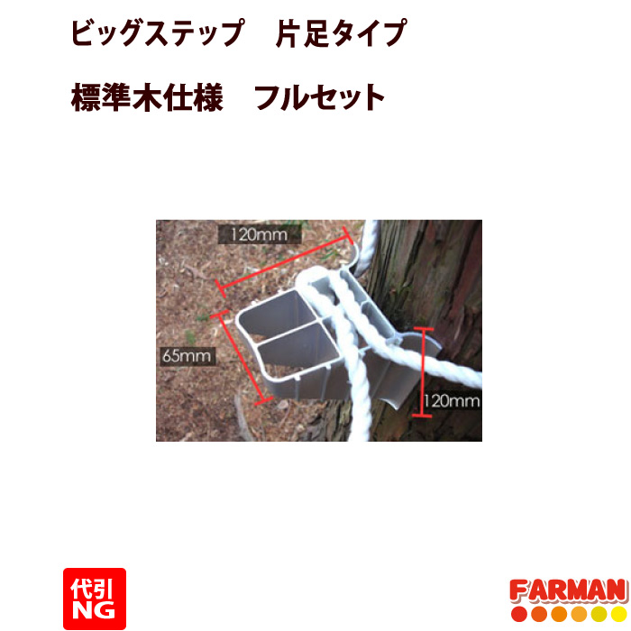 巴化成 片足 ビッグ標準木用フルセット【Big-M-3set】(ビッグステップM 12ケ入+ハンガー+安全帯)【代引不可】