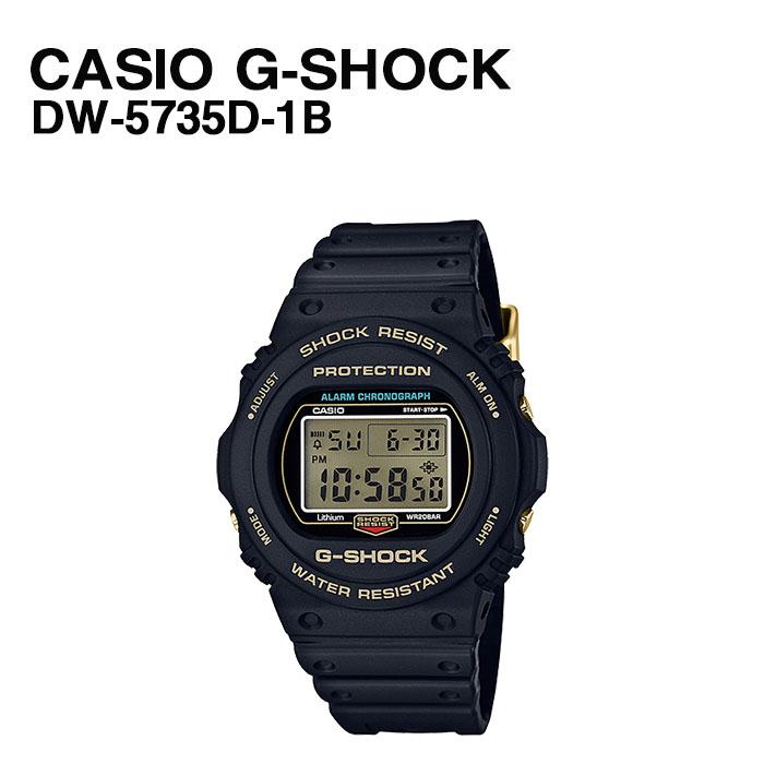 【最大P13倍 9/10 20時~6H限定】 CASIO G-SHOCK DW-5735D-1B 35周年 記念 限定モデル 充電 タフソーラー 20気圧 防水 耐衝撃構造スクリューバック 無機ガラス 電波 自動受信 ストップウオッチ タイマー ブラック ゴールド デジタル 腕時計 時計 カシオ 送料無料