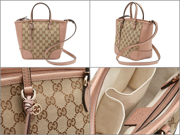 Gucci Bags Bag Bree 2way Tote Beige Light Pink Gg Canvas Leather 353121kh1bg8866