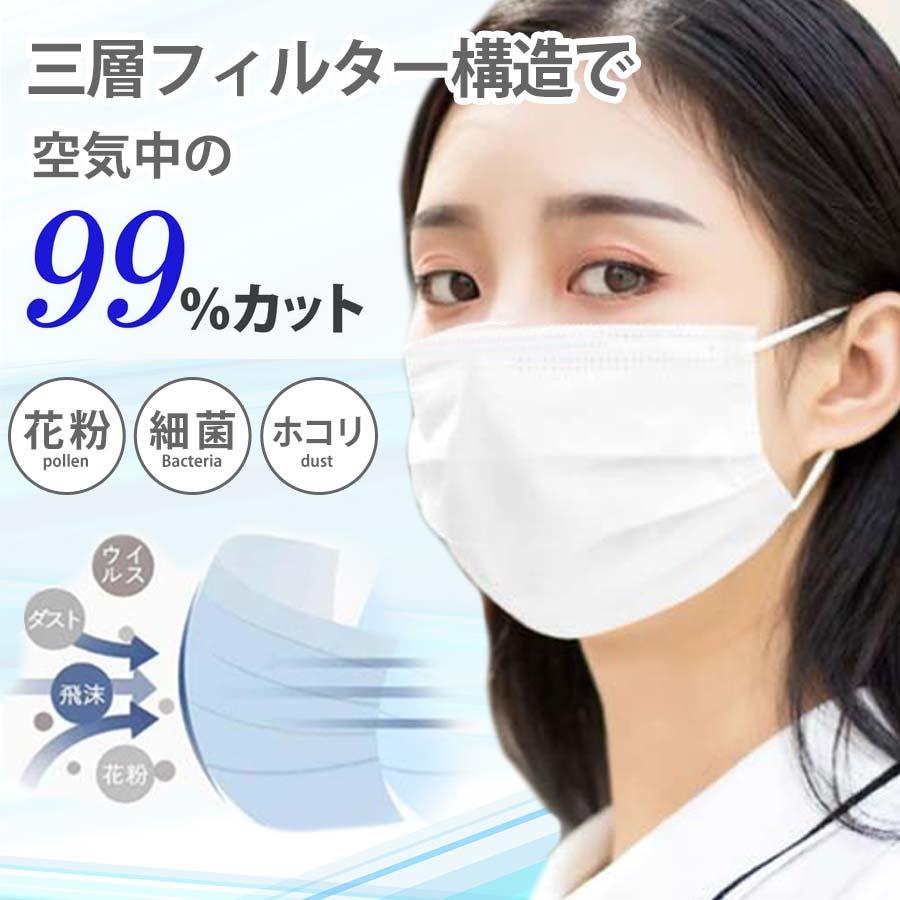 日本正規品 在庫あり 即納 マスク 使い捨てマスク 箱 舗 50枚 大人用 プリーツ 白 不織布マスク ウイルス対策 3層 風邪 お得用 花粉 200420 サージカルマスク