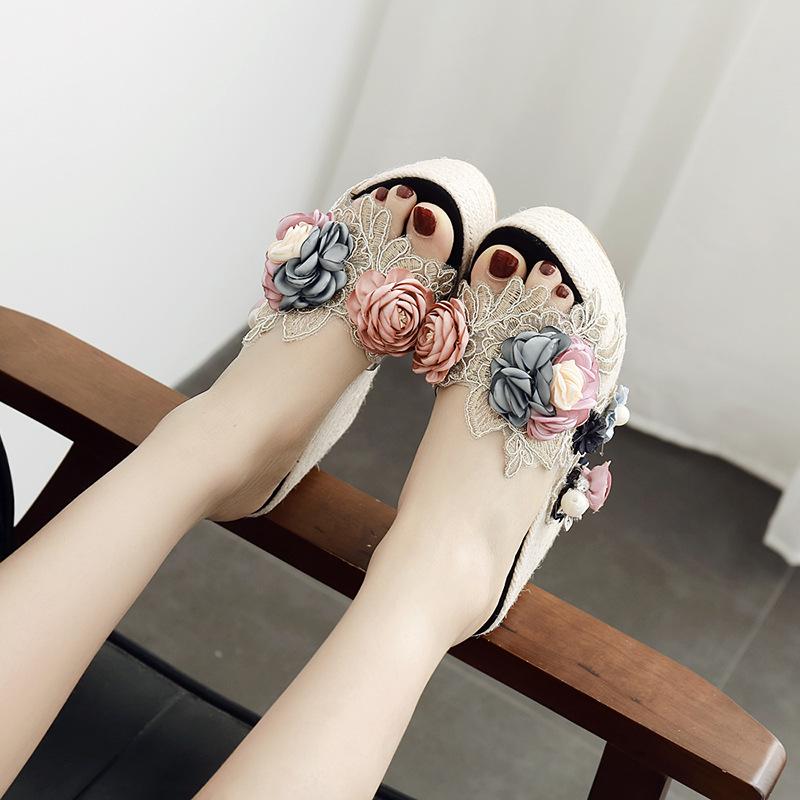 a30db91b050 A mule 3D flower sandals wedge sole low heel high-heeled shoes party shoes  party shoes pumps sandals wedding ceremony shoes pumps resort trip beach ...