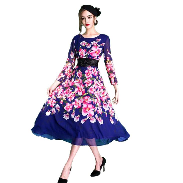 Big Ladies Maxi Dress Elegant Floral Design Prom Dresses Wedding Alumni Parties Invited Event Size Casual Fashion Chic 着痩 Elegant Silk Ol