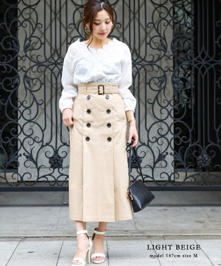 1d85bf91be FashionLetter: Long docking dress double jacket khaki navy beige ...