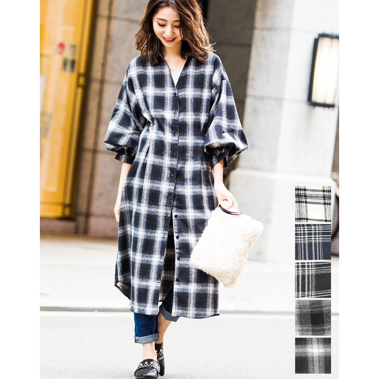 cce4293e5a FashionLetter  Check shirt-dress shirt blouse dress checked pattern ...