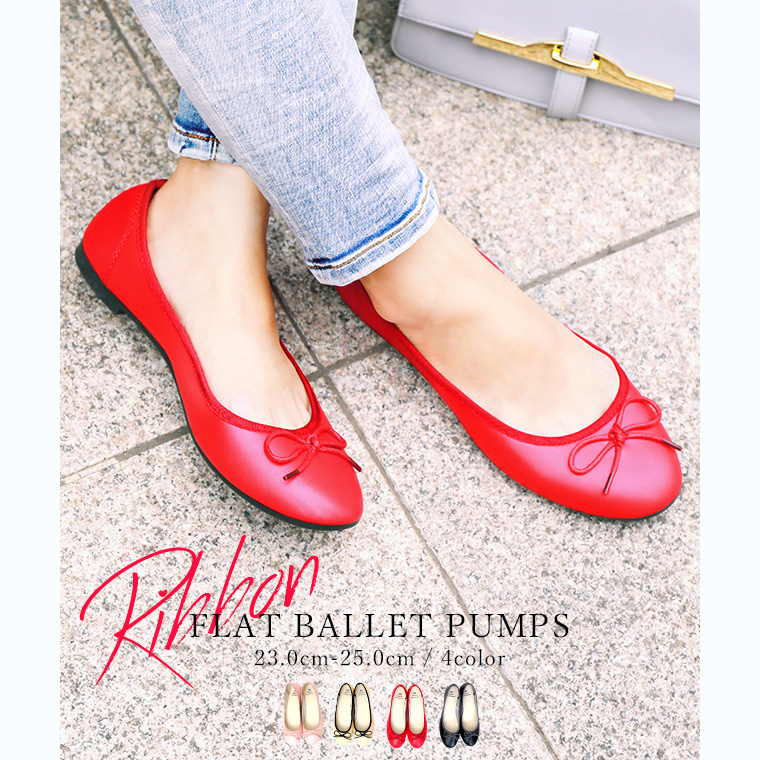 fecc5d78aca FashionLetter  It is black pink ivory light weight in the ribbon pumps red  pumps ぺたんこ ribbon flat pumps Lady s shoes shoes low heel round toe ballet  ...