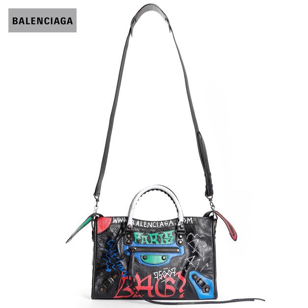 BALENCIAGA バレンシアガ 2018年春夏 WOMEN'S GRAFFITI CITY BAG SMALL BLACK x MULTICOLOR