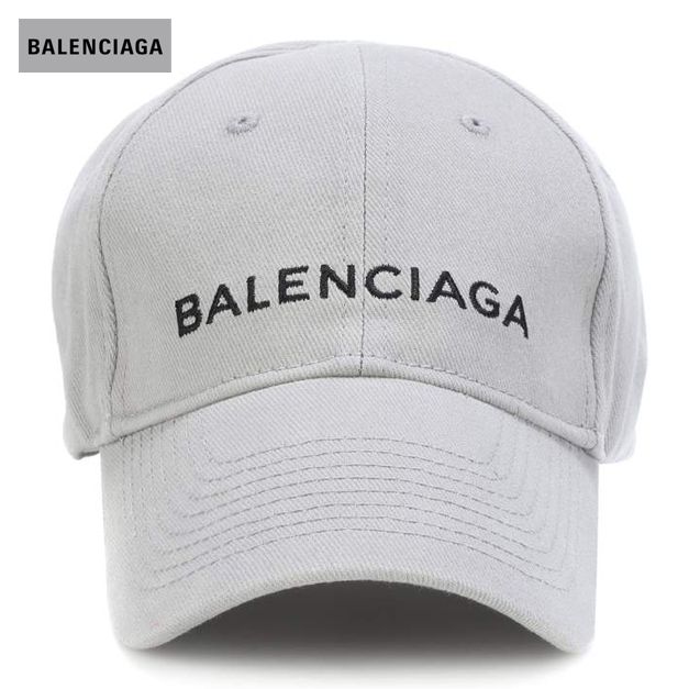 BALENCIAGA バレンシアガ 2018年春夏 Embroidered cotton baseball cap Zinc/Black