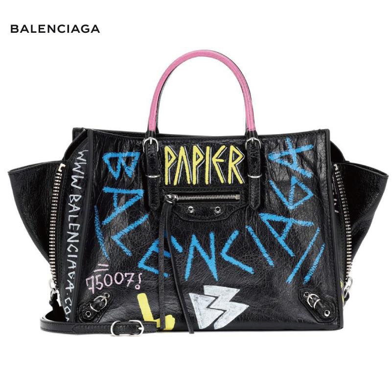 BALENCIAGA バレンシアガ Papier A6 Zip Around leather shoulder bag バッグ ブラック 2018-2019年秋冬