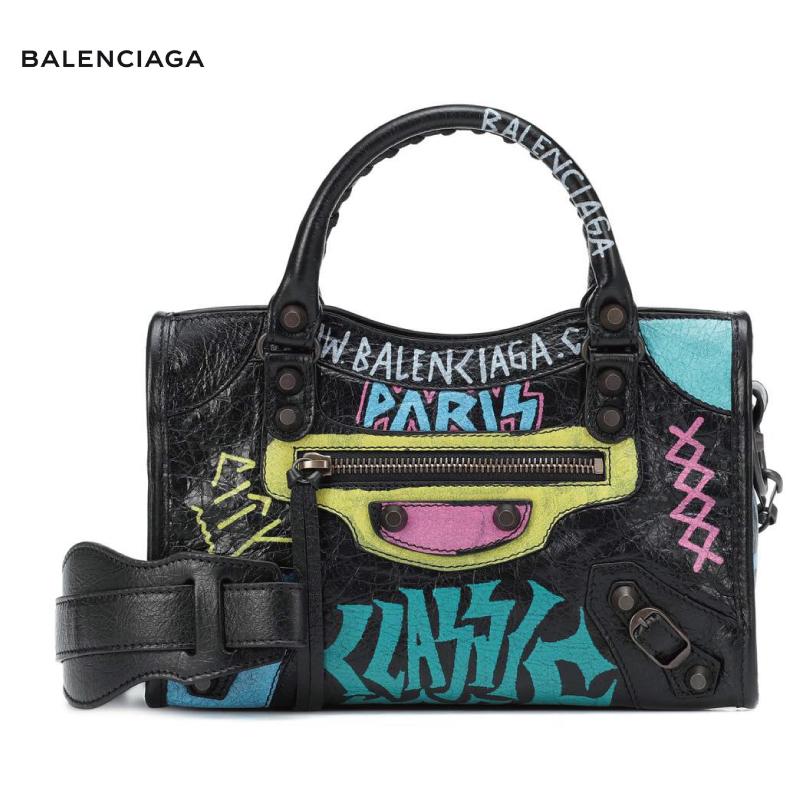 BALENCIAGA バレンシアガ Classic City Graffiti Small leather tote バッグ ブラック 2018-2019年秋冬
