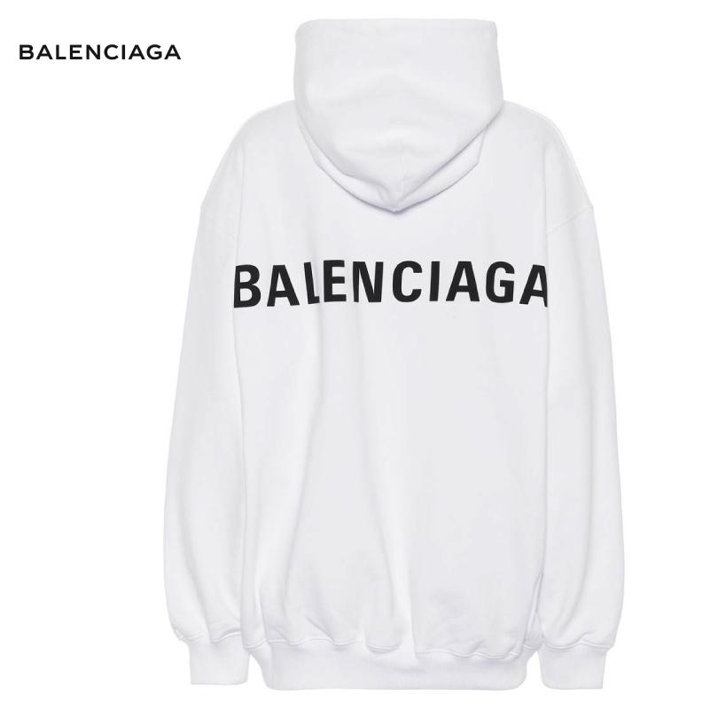 パーカー ホワイト 2018-2019年秋冬 トップス BALENCIAGA バレンシアガ cotton hoodie `Printed