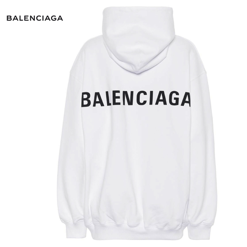 BALENCIAGA バレンシアガ `Printed cotton hoodie パーカー ホワイト トップス 2018-2019年秋冬