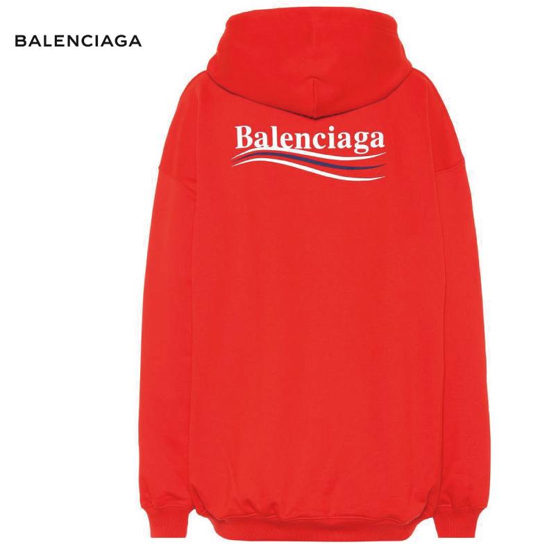 BALENCIAGA バレンシアガ Logo cotton hoodie パーカー レッド トップス 2018-2019年秋冬