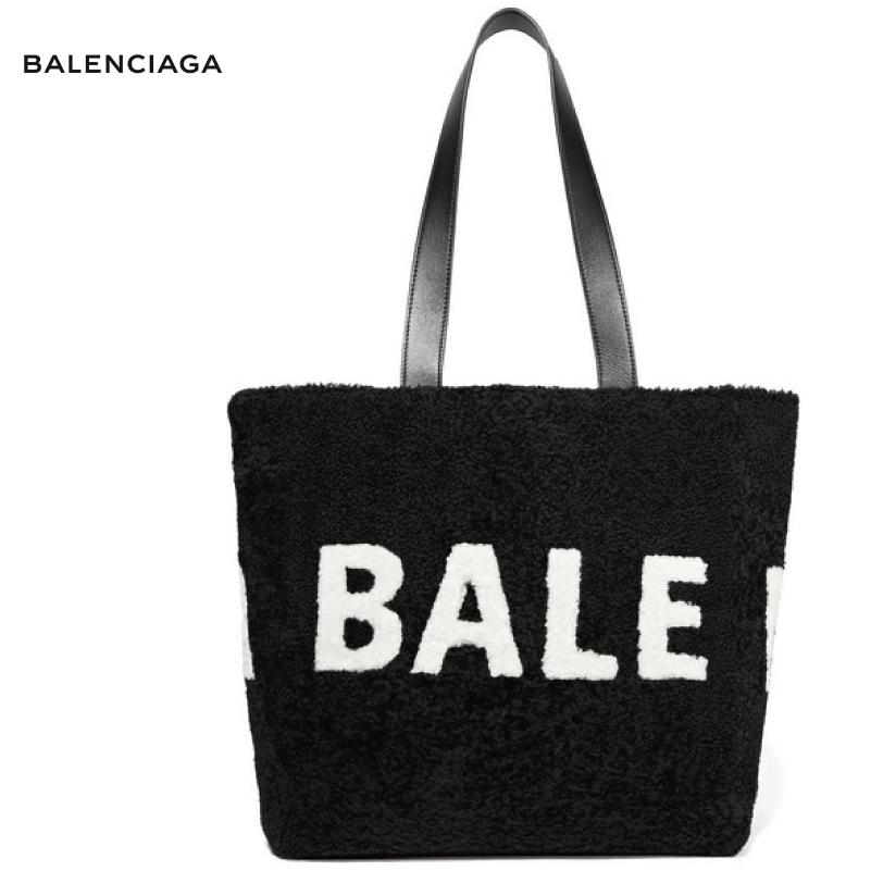 BALENCIAGA バレンシアガ Intarsia shearling shoulder bag バッグ ブラック 2018-2019年秋冬