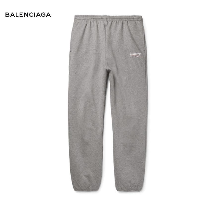 BALENCIAGA バレンシアガ Tapered Logo-Print Loopback Cotton-Jersey Sweatpants パンツ ボトムス グレー 2018-2019年秋冬