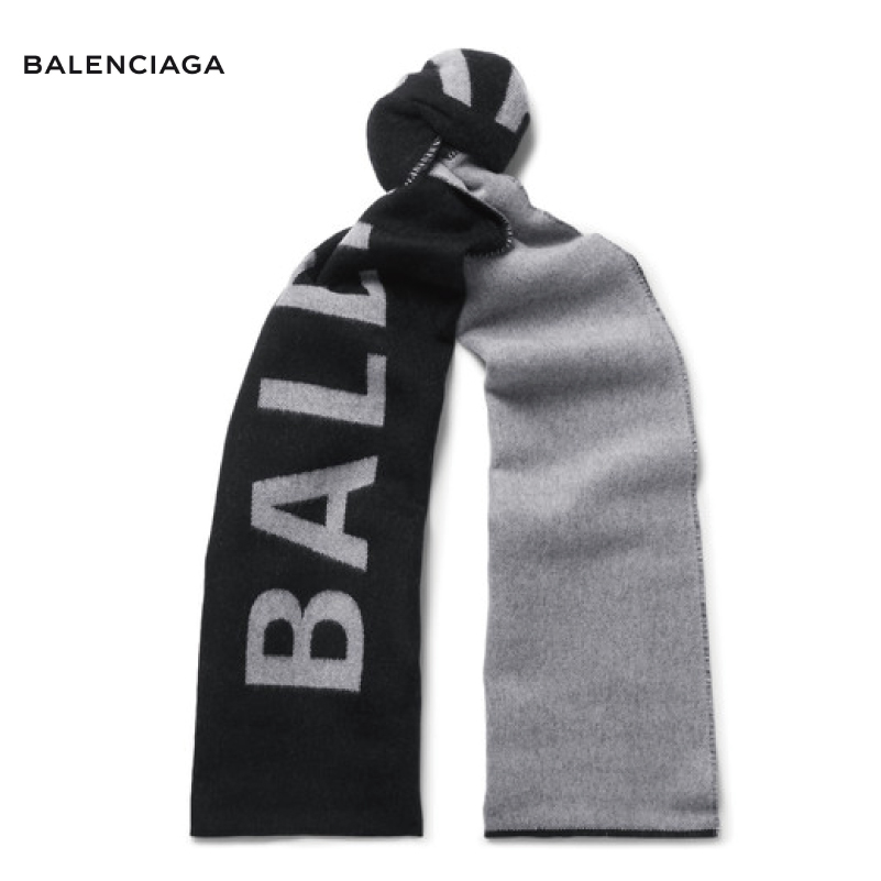 BALENCIAGA バレンシアガ Logo-Jacquard Wool Scarf スカーフ ブラック 2018-2019年秋冬